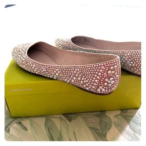 Sand colored sparkling flats